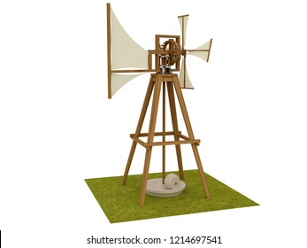 Windmill, Leonardo da Vinci, Codex Madrid II / 0043v. 3D model