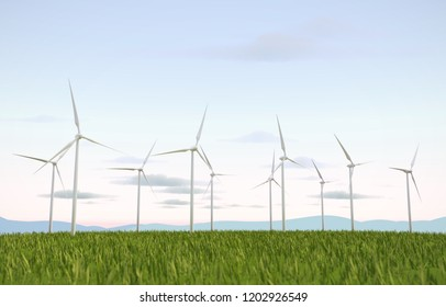 Windmill turbine for electric power and eco power, 3D rendering.