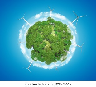 Windmills on Earth Planet (Alternative Energy Concept)