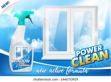 Window cleaner ad. 3d realistic illustration of handy plastic trigger spray bottle and clean window. Window cleaning detergent promo poster design template.
