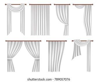 Window curtains and drapes set. Realistic illustration isolated on white background.