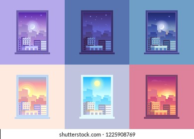 Window day time view. Sunrise sun dawn morning noon sunset dusk afternoon day and night stars at city house windows apartment colorful purple orange blue pink cartoon  concept illustration