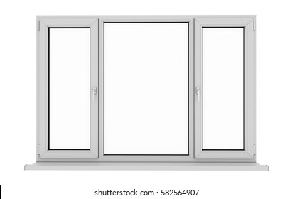 Window. Isolated window. Aluminum , White, Pvc window. 3d. 3D render.