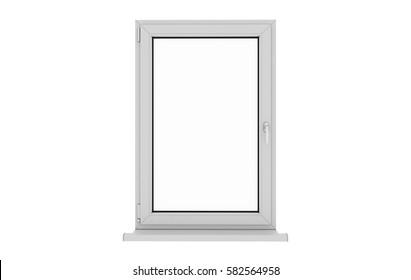 Window. Isolated window. Aluminum , White, Pvc window. 3d. 3D render.