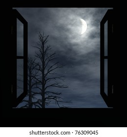 Window open to cloudy night. Trees without leaves . A Crescent moon fills the sky. Original illustration