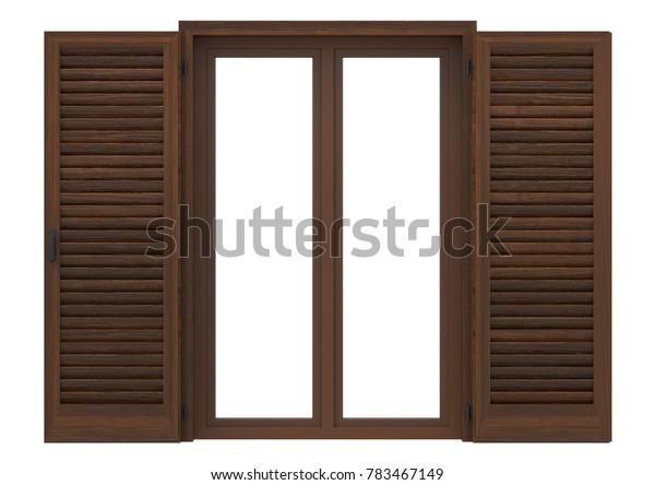 Window open with wood venetian shutters, closeup front view, 3D rendering.
