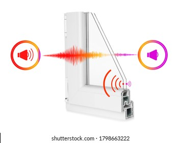 Window profile sample and illustrations on white background demonstrating noise cancelling effect
