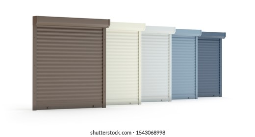 Window roller collection isolated on white, 3d illustration