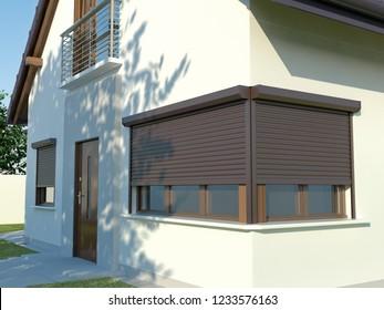 Window roller illustration, 3D illustration