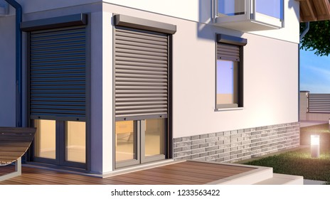 Window roller illustration - house 9, 3D illustration