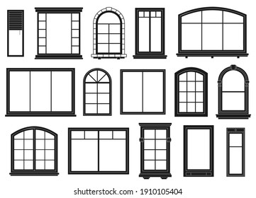 Window silhouettes. Exterior framing windows, black outline ornate arches and doors architectural building, isolated  set. Architectural window exterior, line arch wooden outline illustration