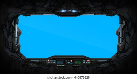 Window of a space station with control panel '3D rendering'