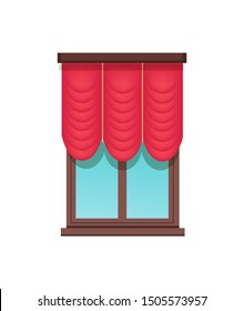 Window template cute red blind colorful banner isolated on white backdrop waved curtain brown with blue glass interior elements set