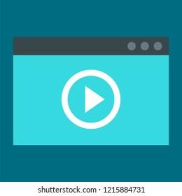 Window video play icon. Flat illustration of window video play icon for web design