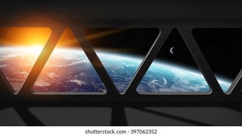 Window view of planet earth from a space station 'elements of this image furnished by NASA'