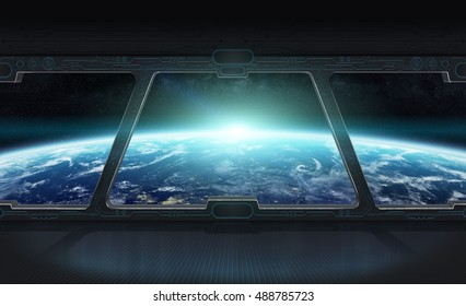 Window view of planet earth from a space station 3D rendering elements of this image furnished by NASA