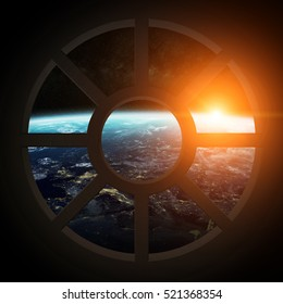 Window view of planet earth from a spaceship cabin 3D rendering elements of this image furnished by NASA