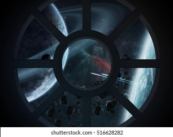 Window view of space and planets from a spaceship cabin 3D rendering elements of this image furnished by NASA