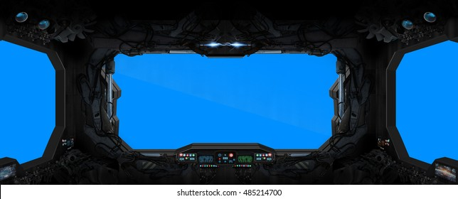 Window view from a space station in space blue background 3D rendering