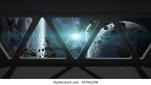 Window view of space from a space station 'elements of this image furnished by NASA'