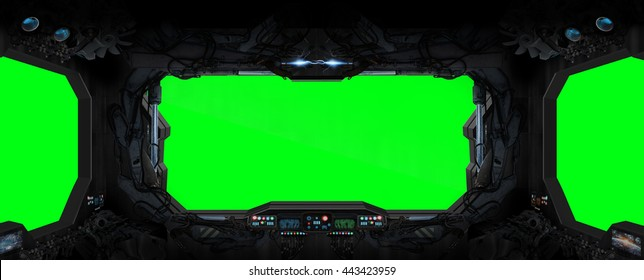 Window view from a space station in space green background '3D rendering'