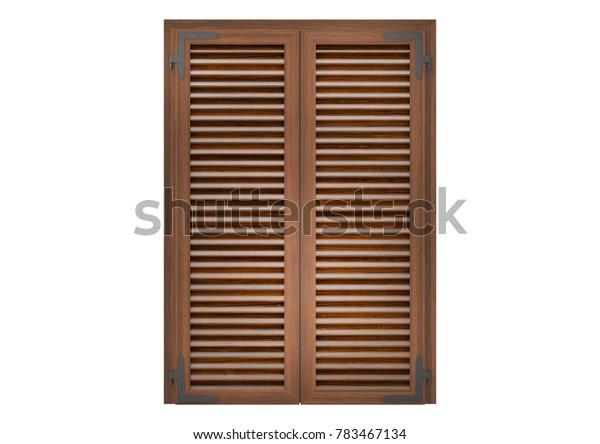 Window with wood venetian shutters, closeup front view, 3D rendering.