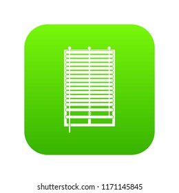 Window with wooden jalousie icon digital green for any design isolated on white illustration