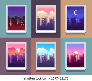 Windows day time. Early morning sunrise sunset, noon and dusk evening, night cityscape skyscrapers inside home window. concept