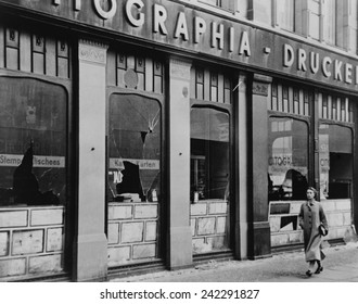 Windows of a Jewish owned printing business smashed during Kristallnacht, Berlin. November 9_10, 1938.
