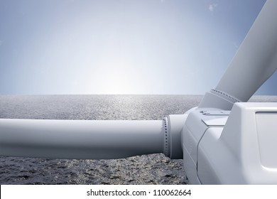 Windpark with ocean and sun over the horizon