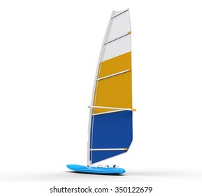 Windsurf board - back view, isolated on white background, ideal for digital and print design.