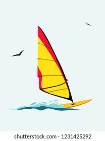 Windsurf board  illustration. Windsurfing