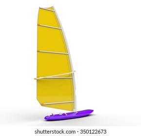 Windsurf board - yellow sail, isolated on white background, ideal for digital and print design.