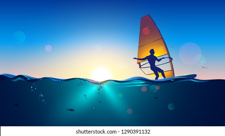 Windsurfing on sea landscape and clear sky background. Man Windsurfer on the Board with a sail floating on the sea at sunset.