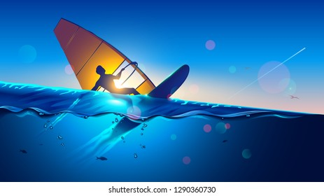 Windsurfing. Young man on wind surfing board flying at waves and touching water surface. Windsurfer on sea landscape. Extreme sport.