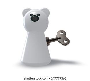 wind-up polar bear on white background - 3d illustration