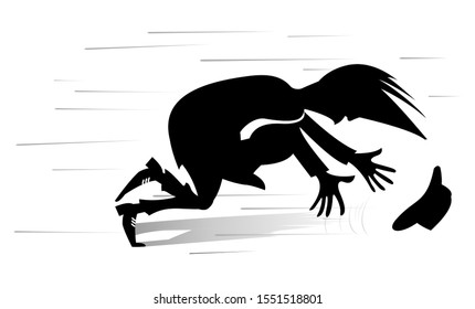 Windy day and man isolated illustration. Man tries to catch a hat gone with the wind silhouette black on white