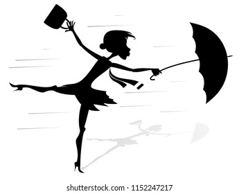 Windy day and woman with umbrella silhouette illustration. Young woman tries to hold an umbrella and a fancy bag gone with the strong wind silhouette black on white illustration