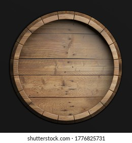 Wine, beer , alcohol template. Old wooden barrel isolated on black background, top view. Whiskey, bourbon cellar concept. 3d illustration