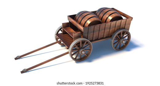 Wine beer barrels on an old wooden wagon isolated on white background. Alcohol oak timber alcohol or water containers. Transportation history, Wild West. 3d illustration