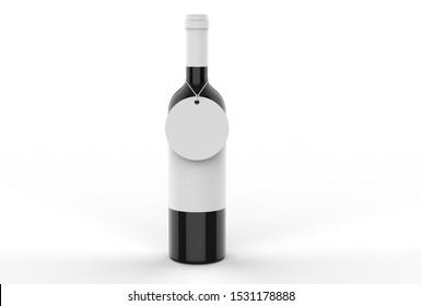 Wine bottle with blank label and circular hang tag for branding and mock up. 3d render illustration.