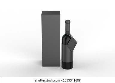 Wine bottle with blank label and hang tag with paper box packaging for branding and mock up. 3d render illustration.