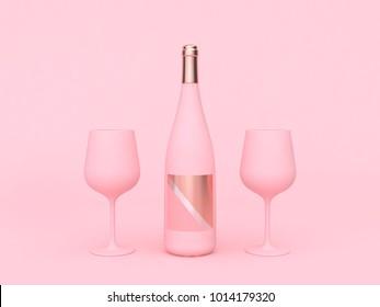 wine bottle wine glass pink background 3d rendering love valentine concept