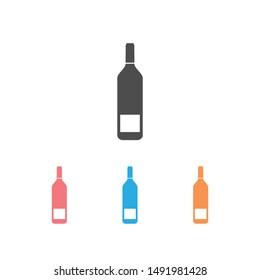 Wine bottle icon set on white. illustration