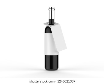 Wine bottle with label and tag isolated on white background, 3d illustration.