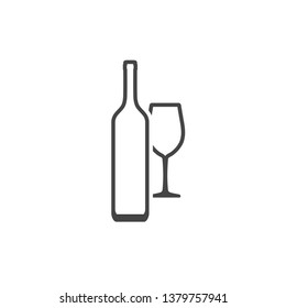 Wine bottle and wineglass contour icon isolated on white