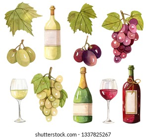 Wine bottles, grape berries, leaves