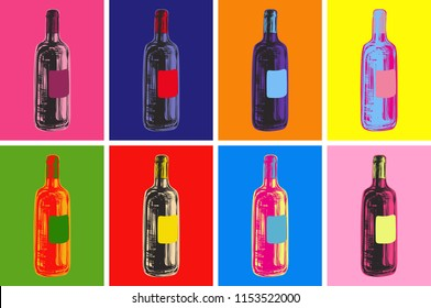 Wine Bottles Hand Drawing Illustration Alcoholic Drink. Pop Art Style.