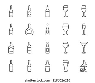 Wine bottles line icons. Set of Craft beer, Whiskey and Wine glasses linear icons. Champagne bottle, Alcohol and Scotch with ice symbols. Wineglass, Beer glass and Restaurant goblet signs.