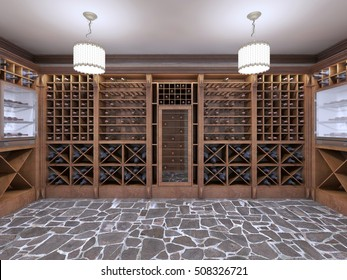 Wine cellar in the basement of the house in a rustic style. Open wine racks with bottles. 3D render.